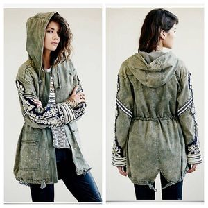 NWT Rare Free People Golden Quills Military Parka